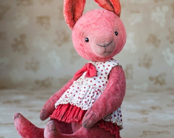OOAK artist teddy rabbit, collectible rabbit, plush teddy rabbit, vintage toy