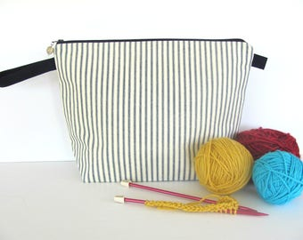 Knitting Bag, Crochet Project Bag Knitting Tote Bag, Zipper Knitting Project Bag - Navy blue cotton ticking stripe