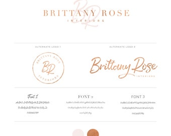 Signature Initials Logo design - branding set - Rose Gold or Silver Foil Calligraphy Logo - Custom PreDesigned Logo