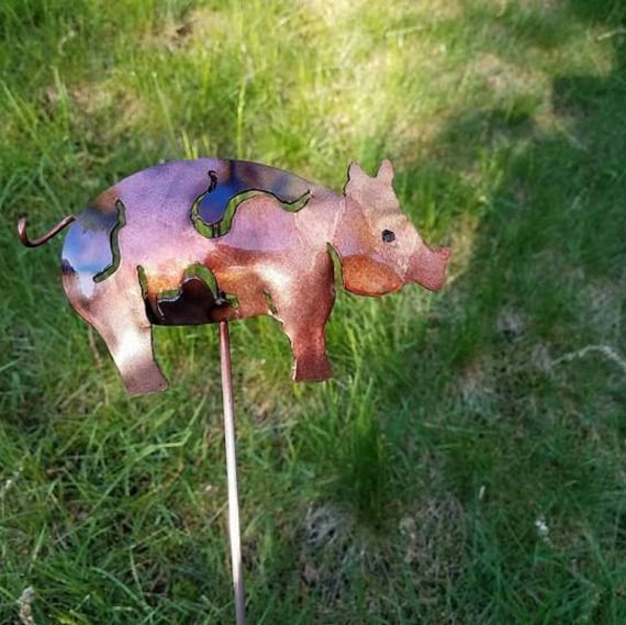 "Pig garden stake, 18"", outdoor finish, made to order"