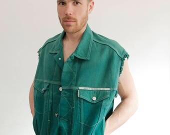 90ties denim vest green