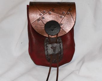 Red/Copper Leather Steampunk Pouch