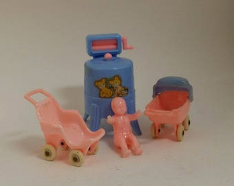 Vintage Renwal / Acme Dollhouse Furniture - Baby Carriage / Buggy / Pram, Stroller and Wringer Washer - Pink and Blue, Nursery, Shower Decor