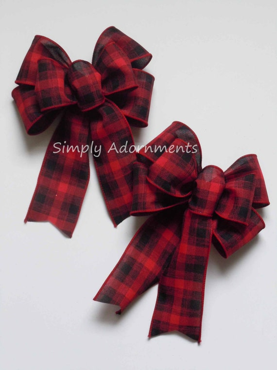 2 Mini Red Black Buffalo Plaid Christmas Bows Red Black Tartan Country Swag Bows Christmas Plaid Decor Bows Cabin Plaid door Hanger bows