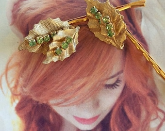 Green Leaf Leaves Decorative Hair Pins 1950 1960 Bridal Jewelry Woodland Rustic Golden Rhinestone Fairy Faerie Hairpins Bobby Pins