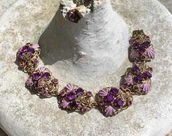 Purple Amethyst Reign Bridal Bracelet 1940 Lavender l Enamel Filigree Rhinestone West Germany Jewelry