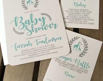 Giraffe Baby Shower Invitation - CUSTOM - Girl - Boy - Gender Neutral - Teal Gray - Wreath - Recycled - Eco Friendly - Digital File