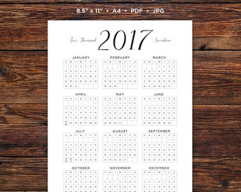 Year at a Glance Calendar | 2017 Calendar | Yearly Calendar | Printable Calendar | Wall Calendar | Calendar | 2017 | Printable | Planner