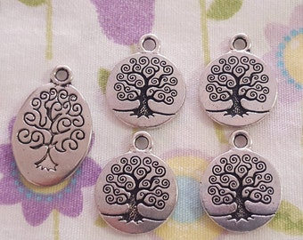 Set of 5 Family Tree Charms or Tree of Life Pendants