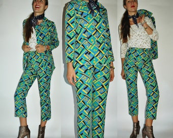 1960s Printed Co-Ord Green Blue High Waist Trouser and Blazer Pantsuit Set