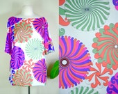1960's psychedelic print Vanity Fair tunic / vintage op art spiral print blouse