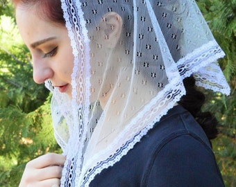 Catholic Chapel Veil LM19 - Ivory Mantilla Chapel Veil Headcovering in Unqiue Point d'Esprit with Tiny Flowers