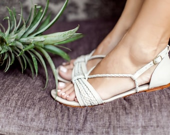 BLOOMING DAY. Ivory shoes / wedding sandals / women shoes / leather shoes / barefoot sandals. sizes 35-43. Available in different colors.