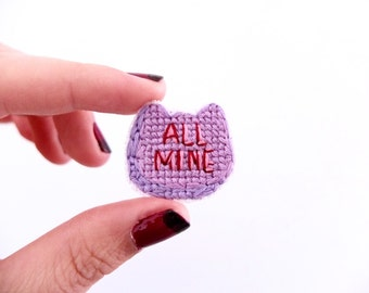 SALE: 'All Mine' cat pin, gifts for her, valentine's day, galentine's day, gifts for cat lovers, purple candy
