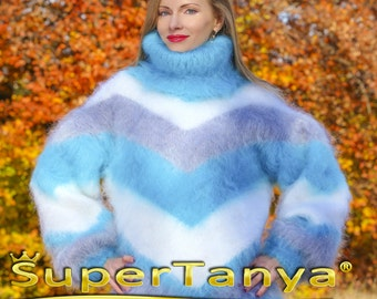 SUPERTANYA multicolor hand knitted mohair sweater in white grey and blue