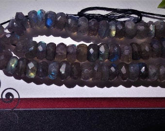 "Natural Labradorite 6 mm faceted rondelle beads, Grade AAA, 8"" long strand"