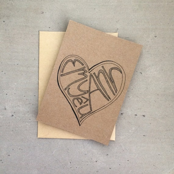 Hand Drawn Card - I Love You in Vietnamese - Greeting Card, Em Yeu Anh, 5x3.25, Kraft Paper with Envelope, Romantic Card, Valentines Card