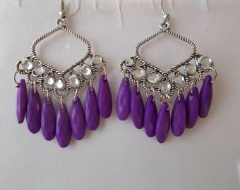Silver Tone Chandelier Earrings with Purple Teardrop Dangles and Clear Rhinestones