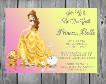 Belle Be Our Guest Beauty And The Beast Colored Background Invitation Multi Sizes Cardstock Physical