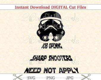Hacer su propio Star Wars Stormtrooper trabajo apertura PNG SVG JPG corte archivo cortador silueta Cricut plantilla proyecto nueva película hierro en vinilo