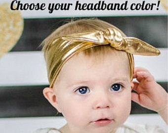 Baby Girl Headband Metallic Knotted Hair Bow Photo Prop Baby Clothes Accessories Hair bow - Customize Choose Your Bow Colors