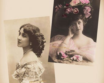 Edwardian Actress - 2 New 4x6 Vintage Postcard Image Photo Prints - SD217 SD240
