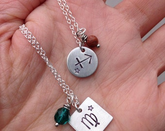 Zodiac pendant necklace customizable