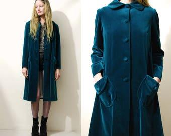 60s Vintage GREEN VELVET Jacket Button Down Swing Coat Mid Length Long Emerald Dolly Collar Mod Retro Hippy Boho Bohemian 1960s vtg S-M
