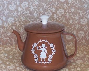 Vintage Brown Enamel Teapot with Dutch Girl Design