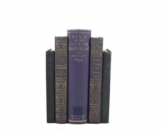Purple Violet Decorative Books, Shabby Chic Book Decor, Antique Book Set, Wedding Centerpiece, Farmhouse Instant LIbrary Old Book collection