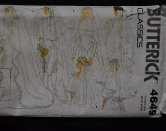 Bridal Veil Pattern, Butterick #4649 - 6 styles of Veils