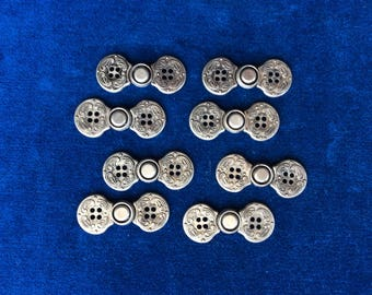 Lot of Japanese Button Clasps by Dyno, Early 1960's, 8 Sets