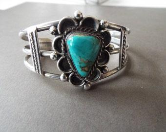 Sterling silver Navajo Kingsman turquoise cuff bracelet southwest