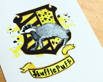 Hufflepuff House Crest Original Watercolor