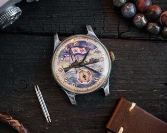 Handpainted watch, Vintage classic Pobeda watch, handpainted dial, russian watch, soviet watch, battleship watch, retro watch, ussr cccp