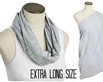 SALE Extra Long Nursing Scarf /  Light Gray Country Club Stripe Hold Me Close Nursing Scarf / SALE / Finished Edge, Nursing Cover
