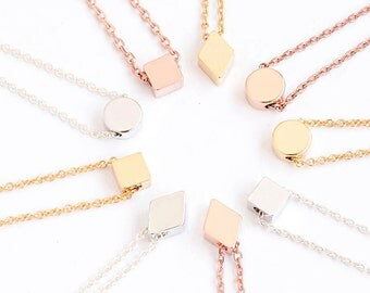 Tiny Geometric Short Necklace, Gold / Silver / Pink Gold, Square Round Diamond Shape Option Bridesmaid Girlfriend Sister Flower Girl Gift GJ