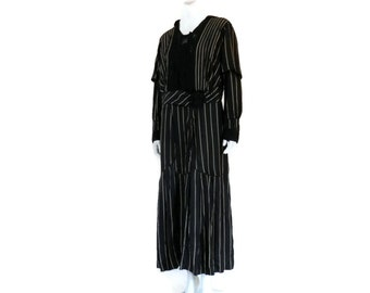 Striped Silk and Black Lace Dress Edwardian Era Steampunk Large Size Antique Gown sz Large