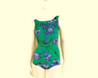 NOS Vintage Swimsuit by Roxanne 1 pc Green Floral Maillot Women's Bathing Suit Tropical Hawaiian Print Old Store Dead Stock sz14 36D #214