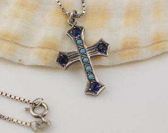 Gothic Vintage Small Cross set with Blue Stones on  Silver 925 Box Chain Necklace