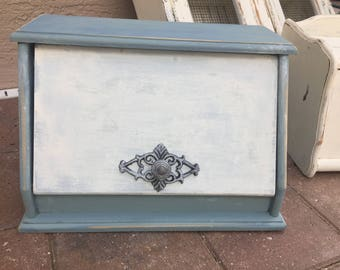 Vintage retro Breadbox Wood Upcycled/Painted blue /Distressed/Extra Large Bread box/Kitsch/Bread Bin/French Farmhouse/Shabby Chic Box/glass