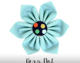 Mint and Navy Blue Flower for Collar/ Polka Dot Bow Collar Attachment: Hexy Dot