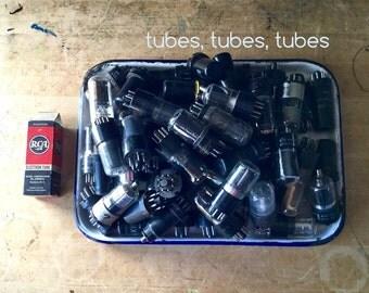 Vintage Vacuum Tubes, Glass Metal Tubes, Radio TV Tubes, Destash, Electron Tubes, RCA, Sylvania, Steampunk Altered Art, Mixed Media Supplies