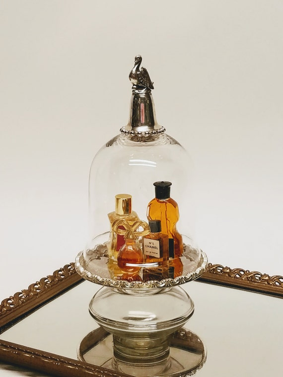 """Glass Cloche Dome And Pedestal Silver Bird Bell Topper Silver Glass Pedestal-""""Ships International"""" Email For Rates"""