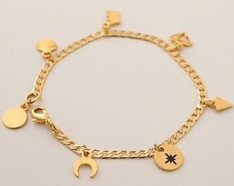 Gold Charms Bracelet,  Multi Charm Bracelet, Bracelet With Charms, Gold Plated Bracelet, Dangle Bracelet, Link Chain Bracelet For Women