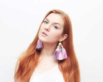 MAGIC 48 / Oversized earrings-large statement jewelry-tie dyed-hand colored bohemian earrings-fringe jewelry-purple earrings- Ready to Ship