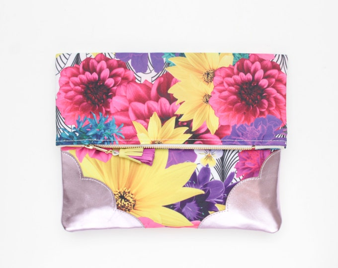 Flower clutch bag. Fold over clutch. Leather handbag. Statement purse. Floral print. Metallic pink leather. Colorful handbag. /FLOWERET 50