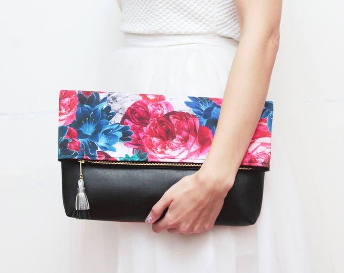 Large clutch purse-marble bag-floral handbag-foldover bag-black leather bag-oversized floral bag-black teal red- Ready to Ship/FALL HANDY 21