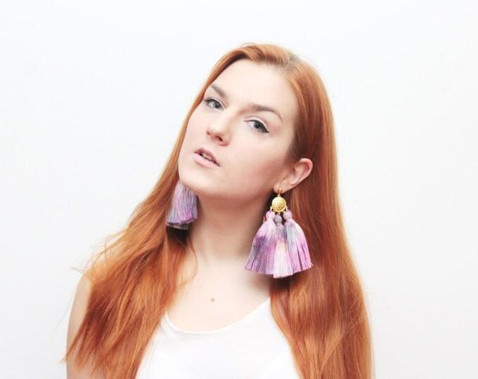 MAGIC 48 / Oversized earrings-large statement jewelry-tie dyed-hand colored bohemian earrings-fringe jewelry-purple earrings- Ready to Ship