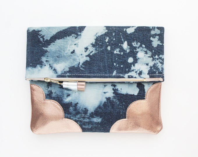 Dyed denim & Natural leather folded purse- handcolored clutch-rose gold blue white-natural leather bag-tassel- Ready to Ship /DELIGHT 53